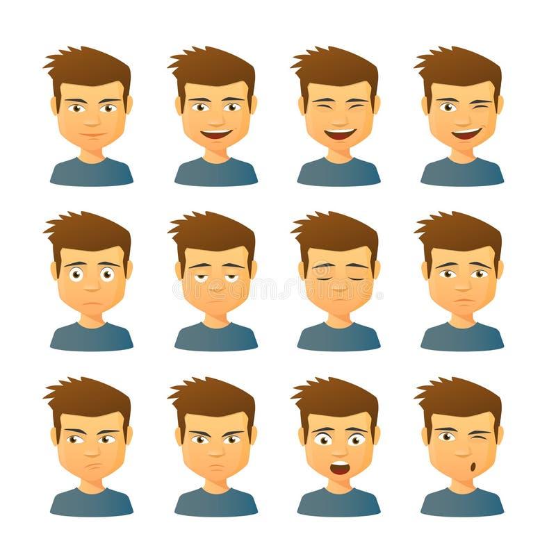 Mannelijke avatar uitdrukkingsreeks royalty-vrije stock afbeelding