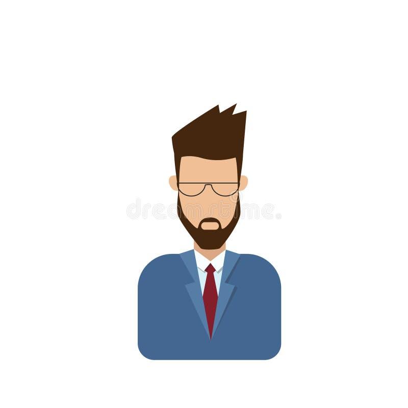 Mannelijke Avatar van het profielpictogram Mens, Hipster-Beeldverhaal Guy Beard Portrait, Toevallig Person Silhouette Face royalty-vrije illustratie