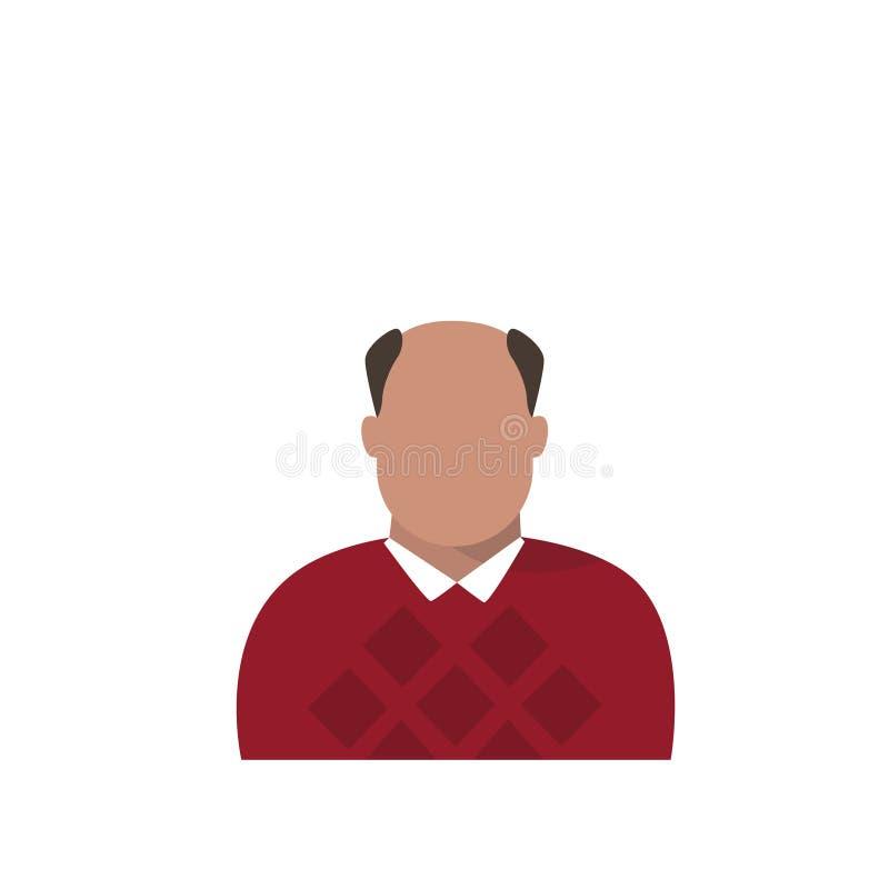 Mannelijke Avatar van het profielpictogram Mens, Hipster-Beeldverhaal Guy Beard Portrait, Toevallig Person Silhouette Face stock illustratie