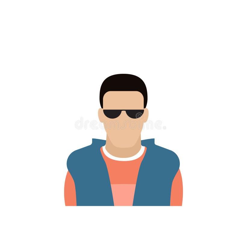Mannelijke Avatar van het profielpictogram Mens, Hipster-Beeldverhaal Guy Portrait, Toevallig Person Silhouette Face stock illustratie