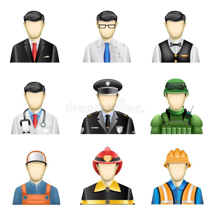 Mannelijke baanpictogrammen stock illustratie