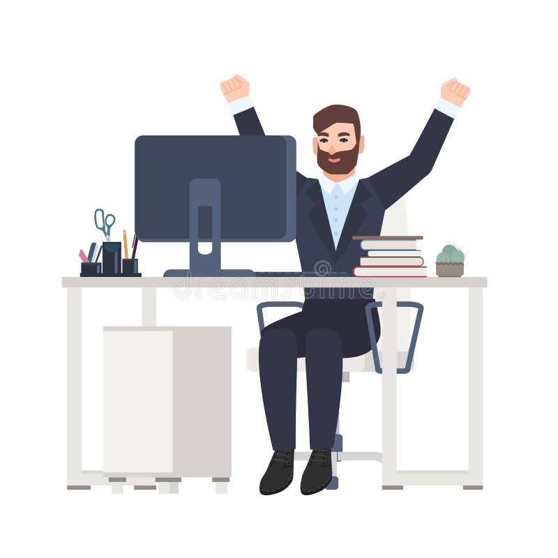 Mannelijke beambte of bediendenzitting bij bureau en het verheugen zich Gelukkig blij manager het vieren succes op het werk royalty-vrije illustratie