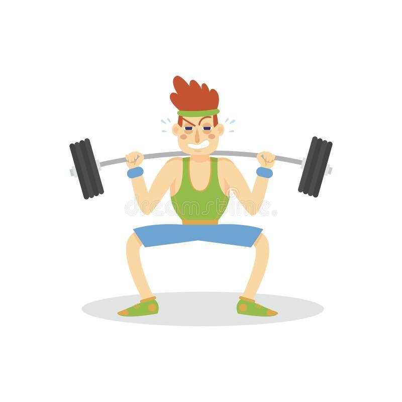 Mannelijke bodybuilder die met een barbell, de actieve gezonde vectorillustratie van het levensstijlbeeldverhaal uitoefenen stock illustratie
