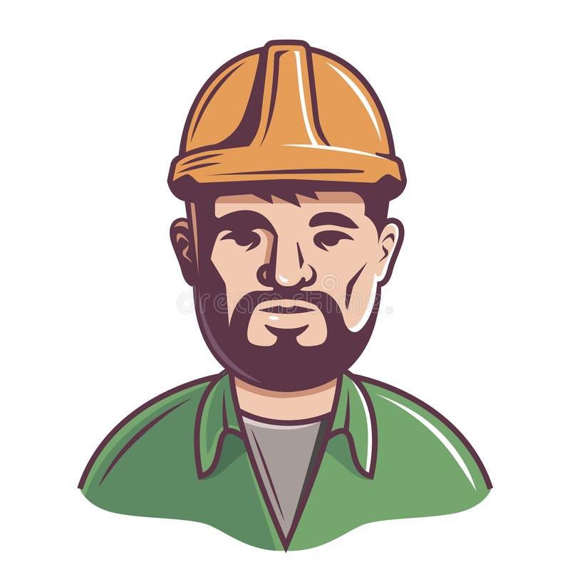 Mannelijke bouwer in helm op een witte achtergrond bovenste helft van het lichaam stock illustratie