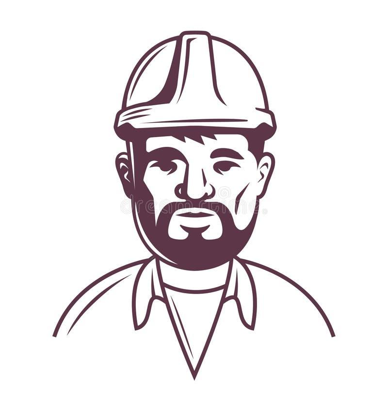 Mannelijke bouwer in helm op een witte achtergrond bovenste helft van het lichaam vector illustratie
