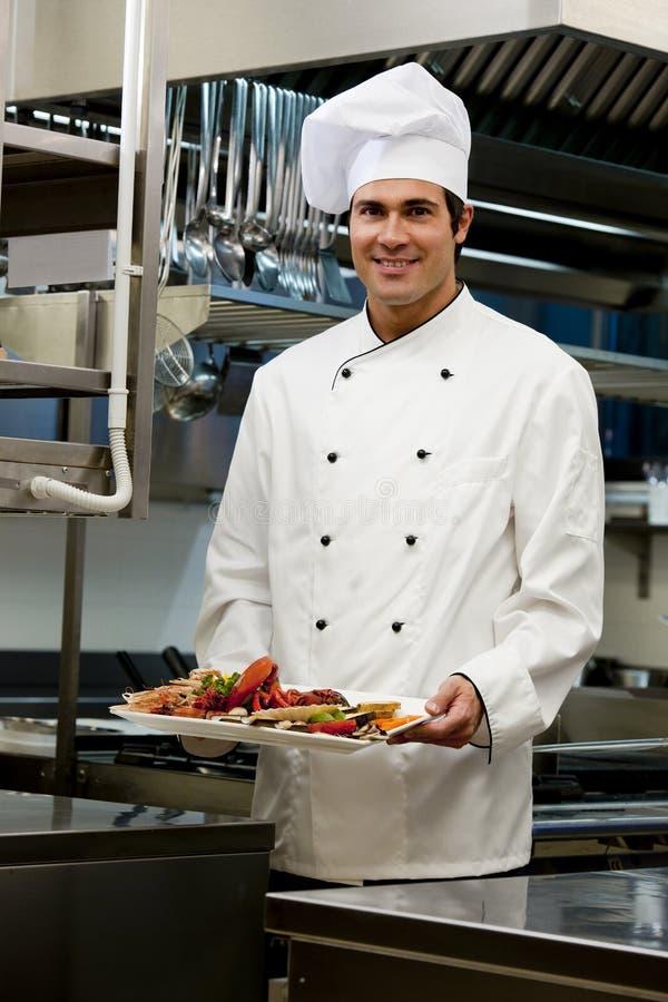 Mannelijke Chef-kok in het Restaurant royalty-vrije stock afbeelding