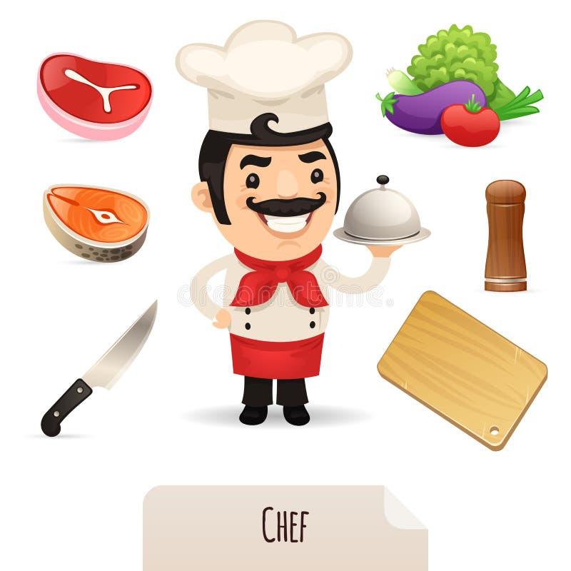 Mannelijke Chef-kok Icons Set royalty-vrije illustratie