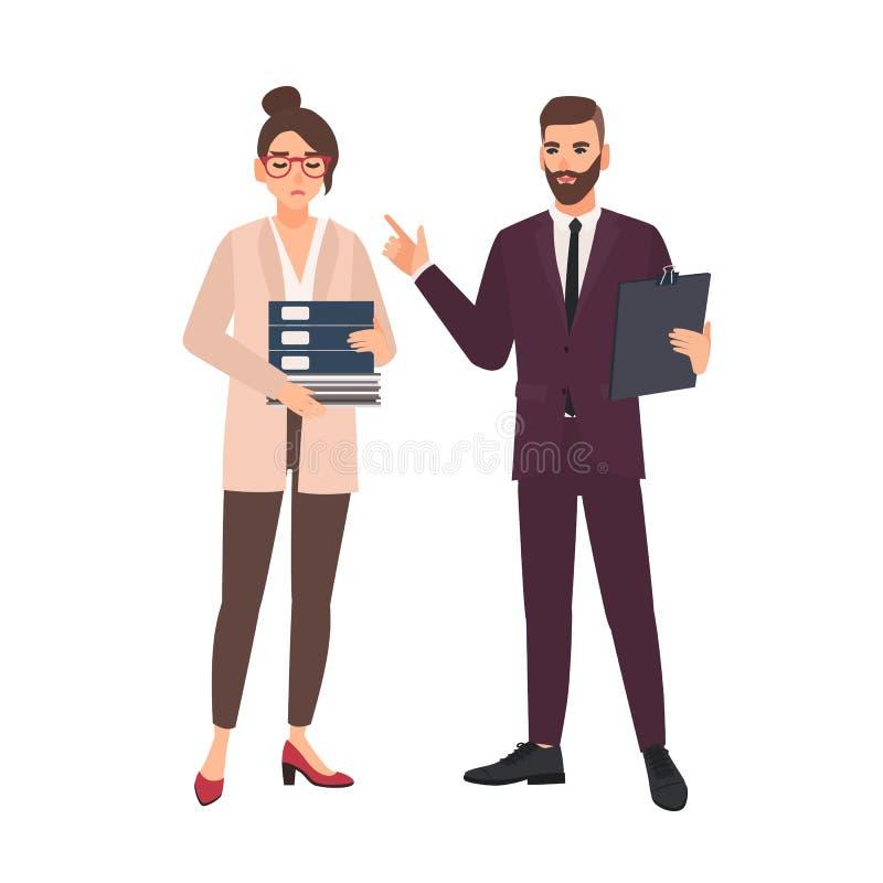 Mannelijke chef- kritiserende vrouwelijke werknemer die met het werk wordt overweldigd dat op witte achtergrond wordt geïsoleerd  stock illustratie
