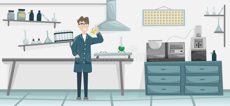 Mannelijke chemicus met een fles met een chemische substantie in de hand Wetenschappelijk laboratorium Medische apparatuur Wetens vector illustratie