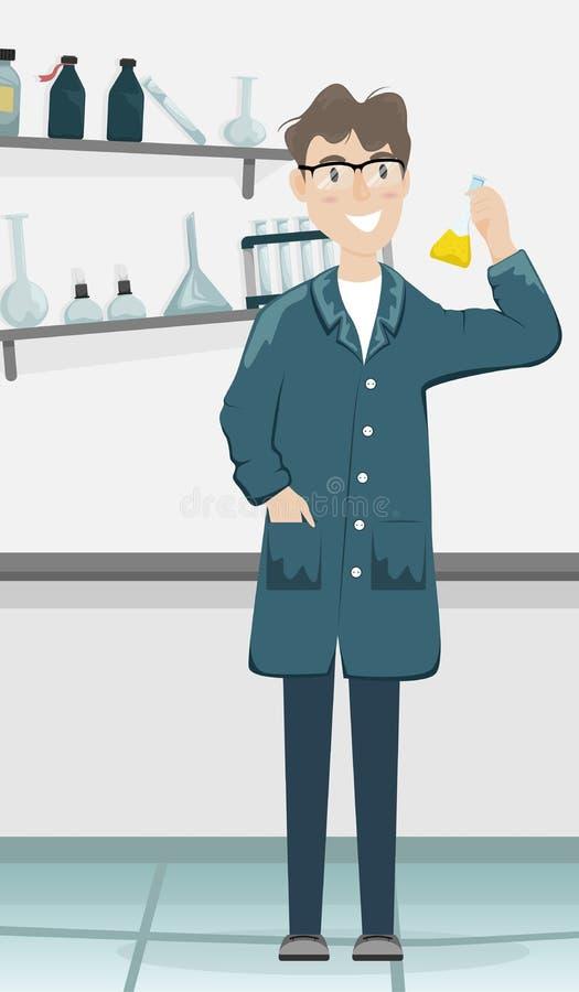Mannelijke chemicus met een fles met een chemische substantie in de hand Wetenschappelijk laboratorium Medische apparatuur Wetens stock illustratie