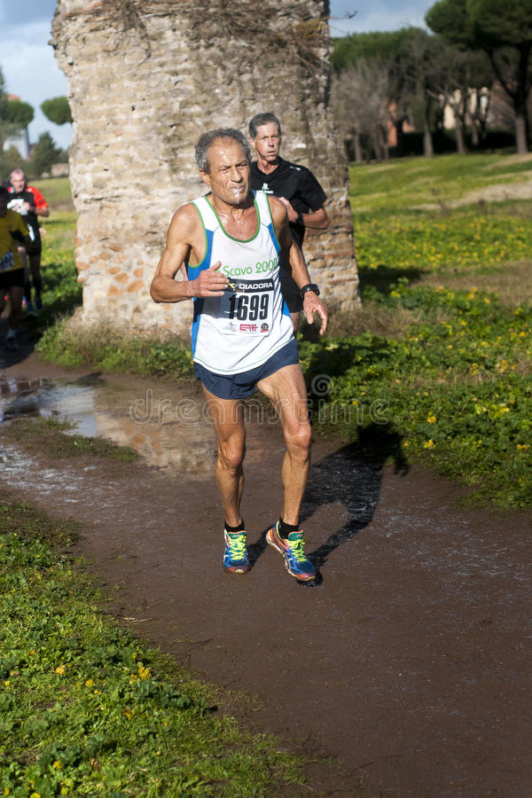 Mannelijke competior in Marathon van Epiphany, Rome, Italië royalty-vrije stock fotografie