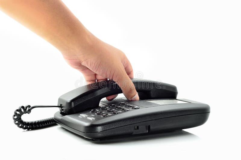 Mannelijke de telefoonontvanger van de handholding stock fotografie