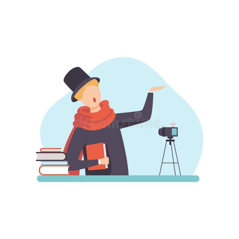 Mannelijke Dichter Reading His Poems die, Mens Blogger Inhoud over Zijn Hobby creëren en het op Sociale Media, Online Kanaal post stock illustratie