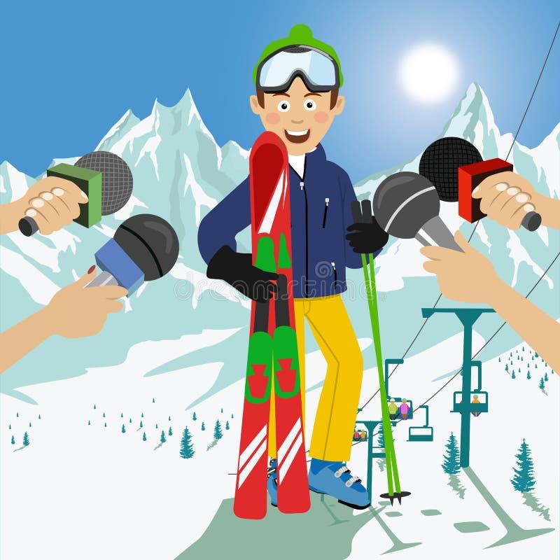 Mannelijke die skiër bij een persconferentie na de concurrentie wordt geïnterviewd stock afbeelding