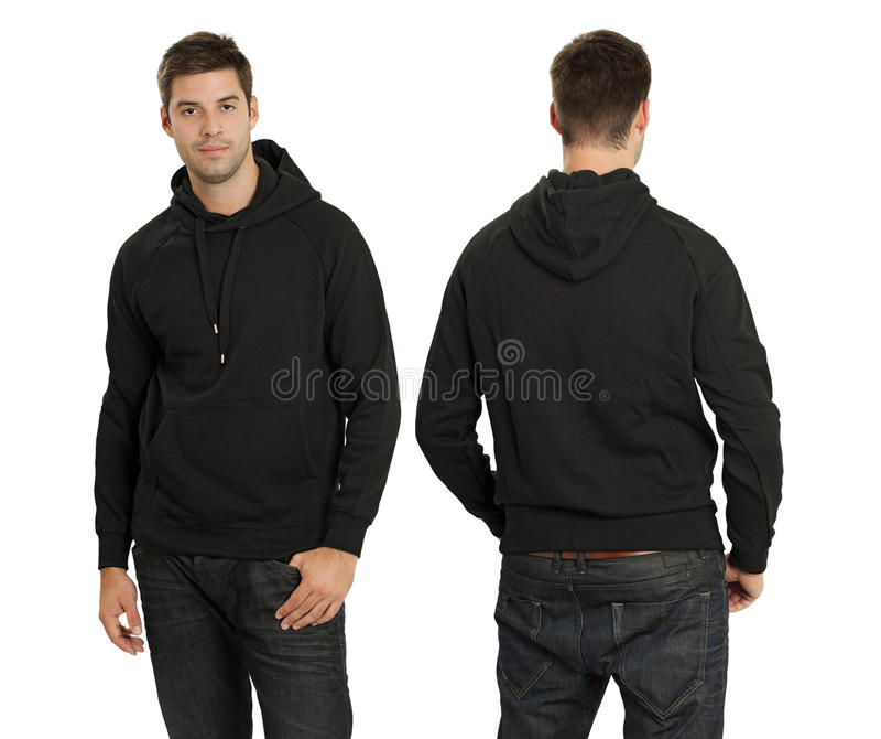 Mannelijke dragende lege zwarte hoodie stock foto