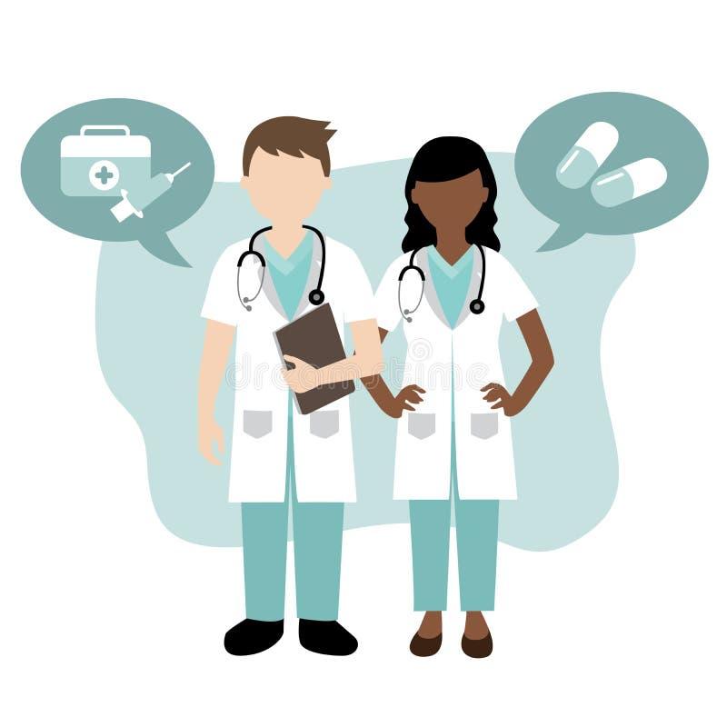 Mannelijke en vrouwelijke arts stock illustratie
