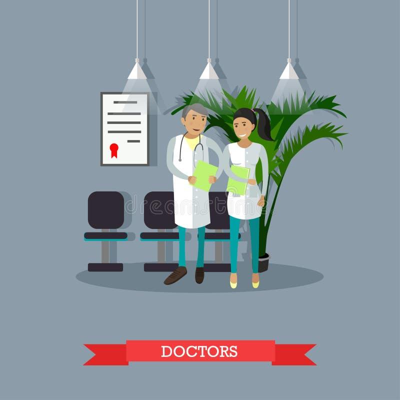 Mannelijke en vrouwelijke arts die in het ziekenhuis spreken Medische conceptenvector vector illustratie