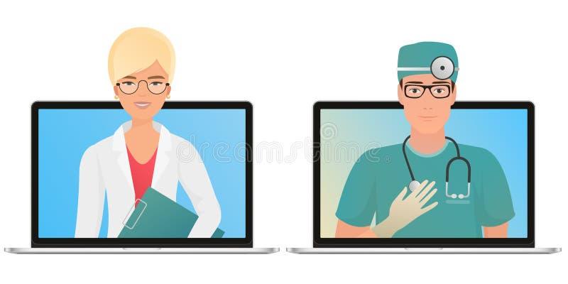 Mannelijke en vrouwelijke arts met online medisch overlegconcept De gezondheidszorgdiensten, vragen een arts stock illustratie