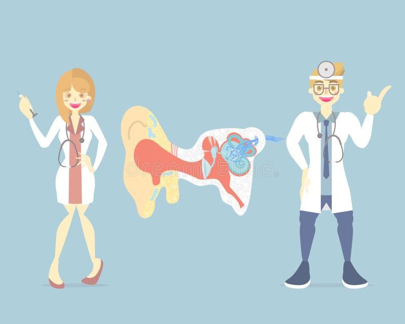 mannelijke en vrouwelijke arts met oor, intern het lichaamsdeel zenuwstelsel van de organenanatomie stock illustratie