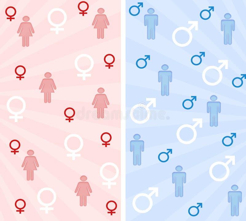 Mannelijke en vrouwelijke banners royalty-vrije illustratie