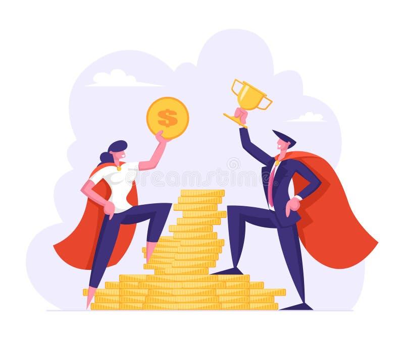 Mannelijke en Vrouwelijke Bedrijfskarakters in Super de Greep Gouden Dollar van Heldenmantels en Koptribune op Stapel Gouden Munt royalty-vrije illustratie