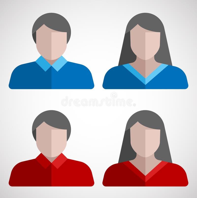 Mannelijke en vrouwelijke gebruikers vlakke pictogrammen royalty-vrije stock foto's