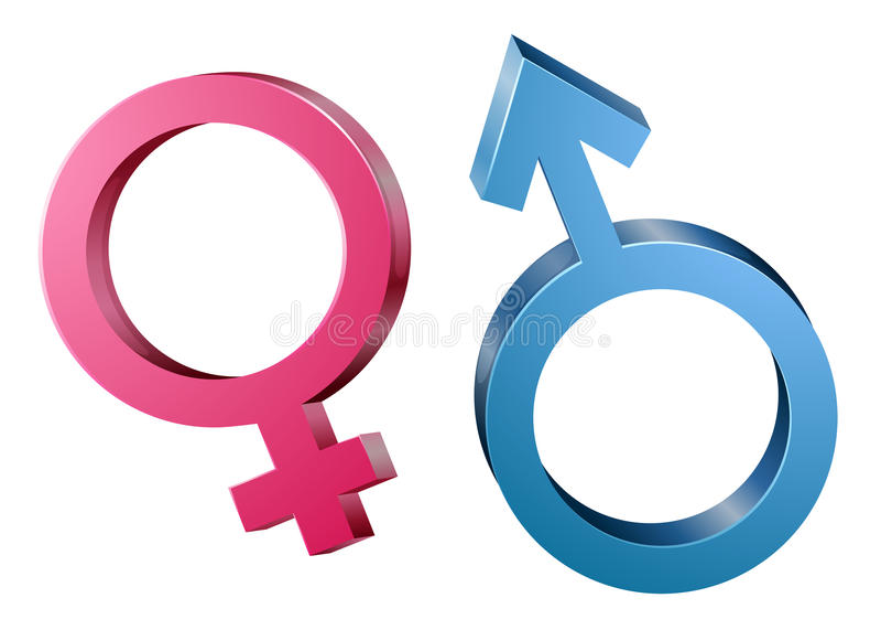Mannelijke en vrouwelijke geslachtssymbolen vector illustratie