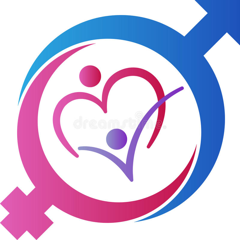 Mannelijke en vrouwelijke geslachtssymbolen op kleurenachtergrond stock illustratie