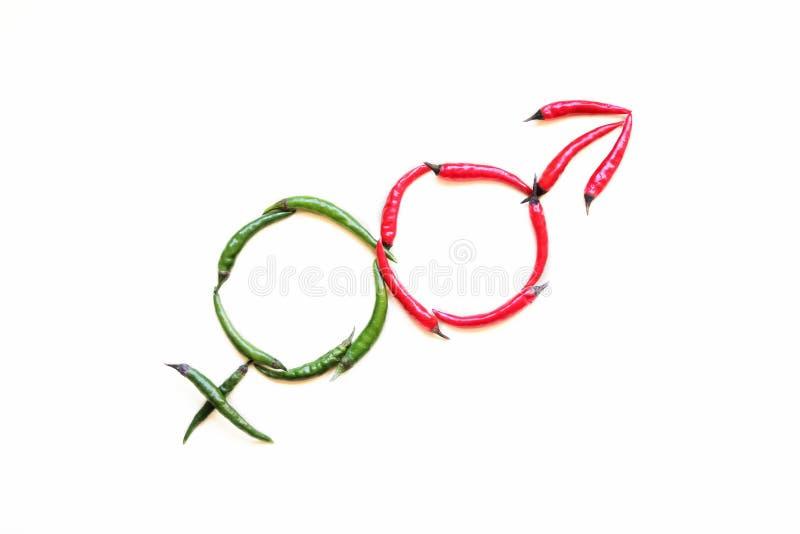 Mannelijke en Vrouwelijke Geslachtstekens gemaakt van rode en groene hete peper op een lichte achtergrond royalty-vrije stock afbeeldingen