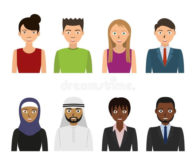 Mannelijke en vrouwelijke gezichten Bedrijfs geplaatste mensen royalty-vrije illustratie