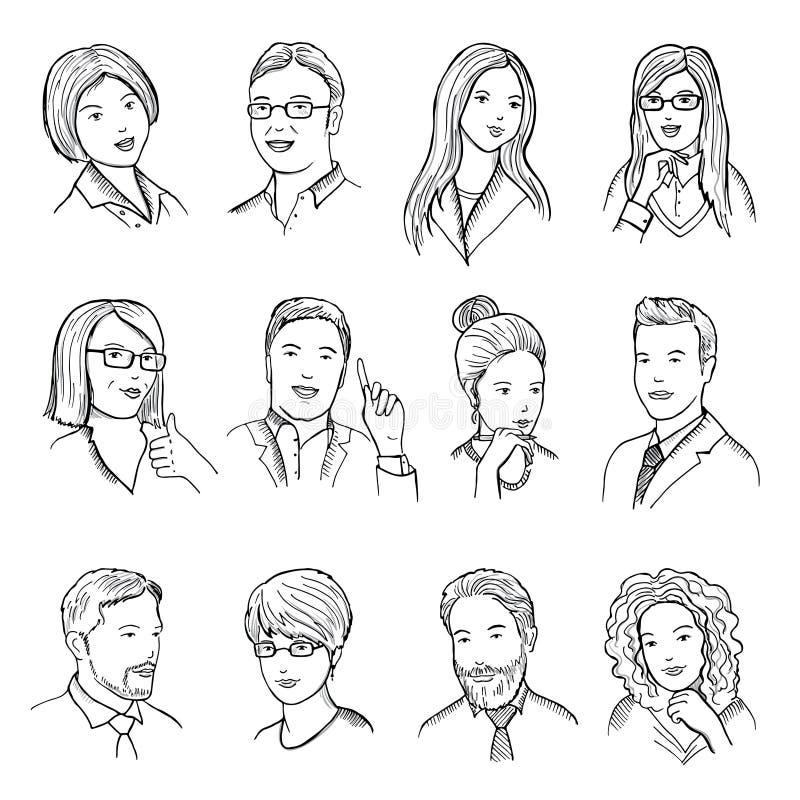 Mannelijke en vrouwelijke hand getrokken illustraties voor pictogrammen of Webavatars Verschillende bedrijfsgezichten met grappig stock illustratie