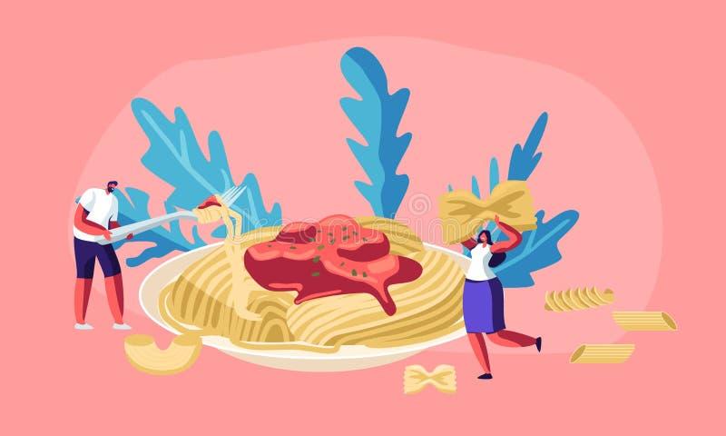 Mannelijke en Vrouwelijke Karakters die Spaghettideegwaren met Smakelijke Saus van Reusachtige Plaat, met Droge rond Macaroni van stock illustratie