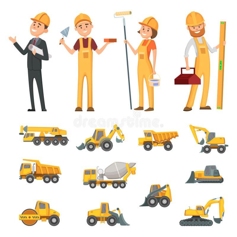Mannelijke en vrouwelijke karakters van bouwers en verschillende illustraties van bouwmateriaal, machines royalty-vrije illustratie