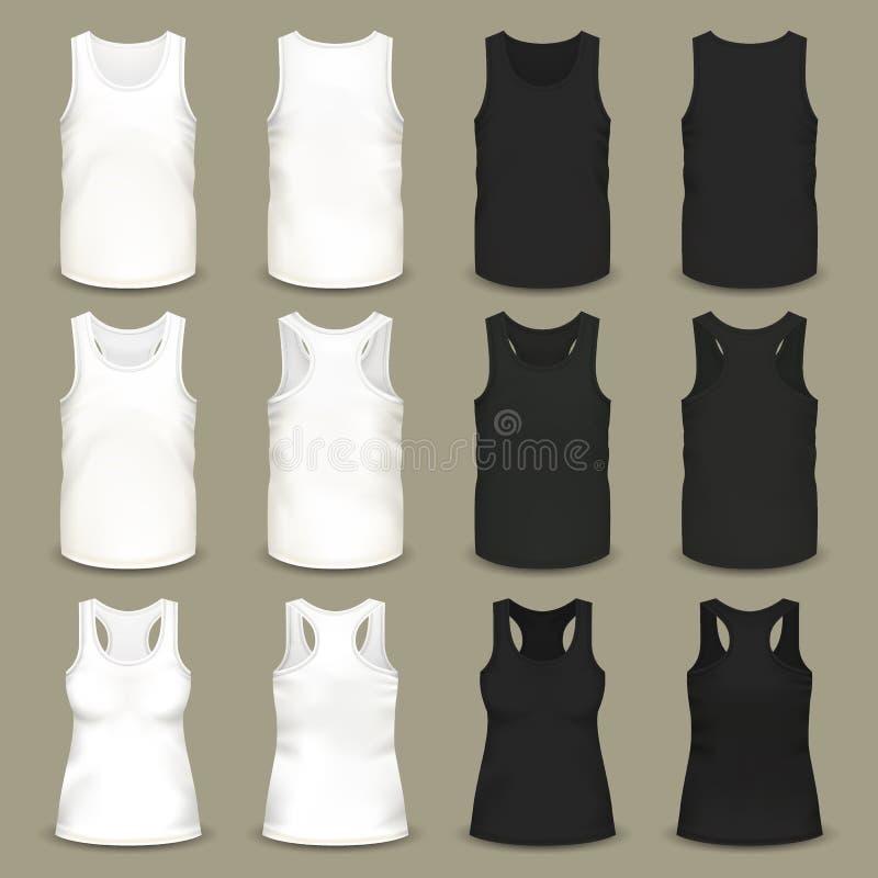 Mannelijke en vrouwelijke lege slank-past t-shirts vector illustratie