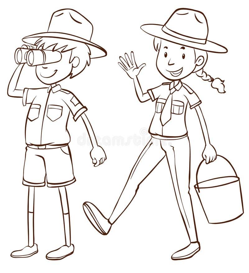 Mannelijke en vrouwelijke parkbereden politie royalty-vrije illustratie