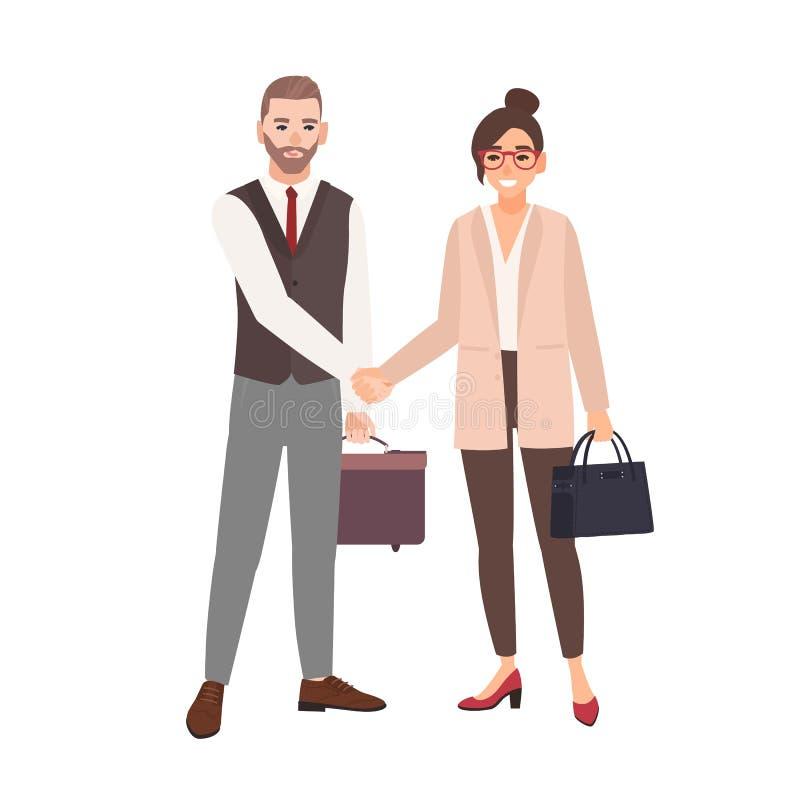 Mannelijke en vrouwelijke partners, werknemers of beambten die handen schudden Professionele samenwerking tussen stock illustratie