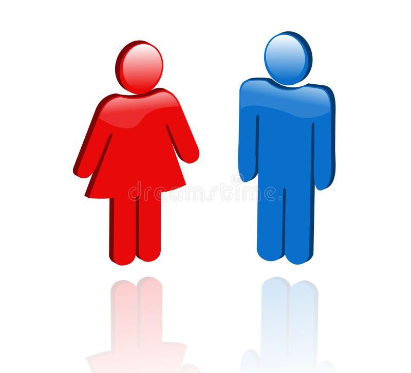 Mannelijke en vrouwelijke pictogrammen in 3D stock illustratie