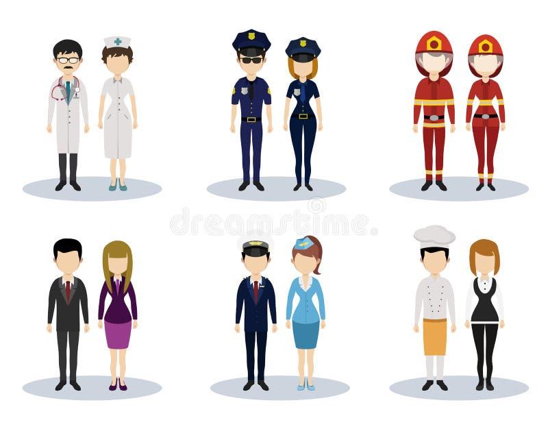 Mannelijke en vrouwelijke professionele karakter vectorreeks stock illustratie