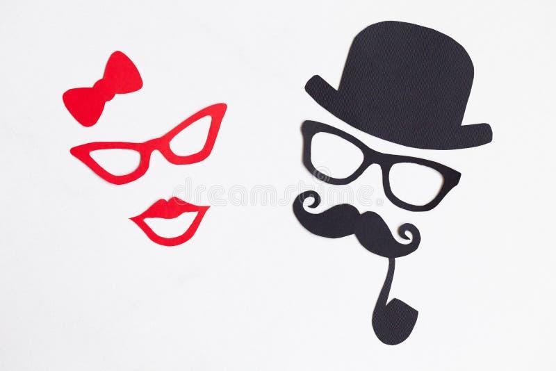 Mannelijke en vrouwelijke silhouetpatronen movember concept Grappig pari stock foto