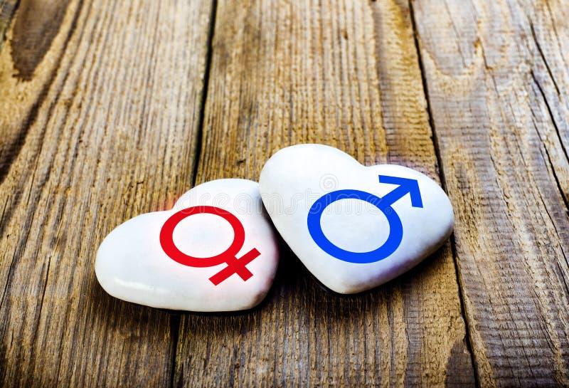 Mannelijke en Vrouwelijke Symbolen op Harten Zing Venus And Mars royalty-vrije stock fotografie