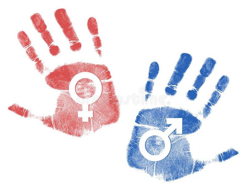 Mannelijke en vrouwelijke tekens Handprint stock illustratie