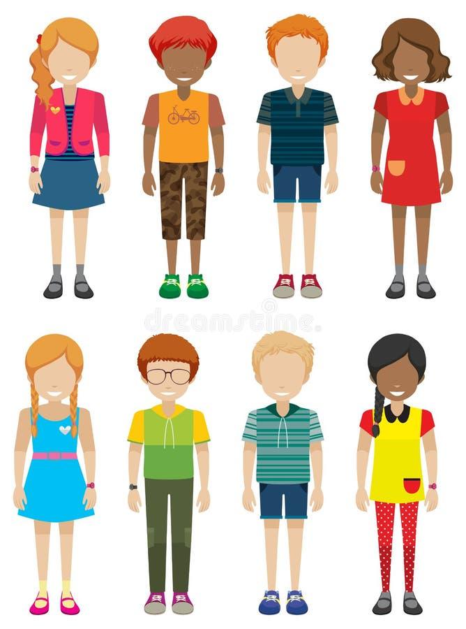 Mannelijke en vrouwelijke tieners zonder gezichten stock illustratie