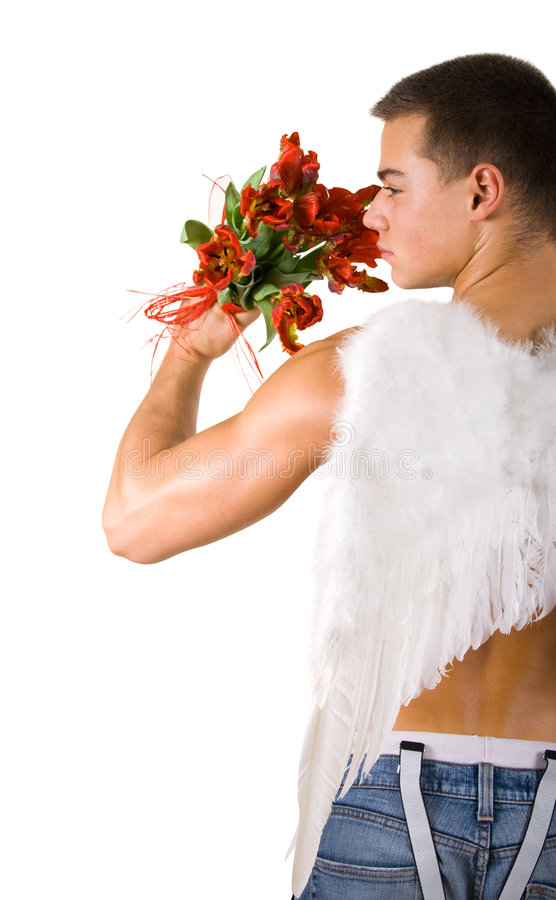 Mannelijke engel met bloemen royalty-vrije stock afbeeldingen
