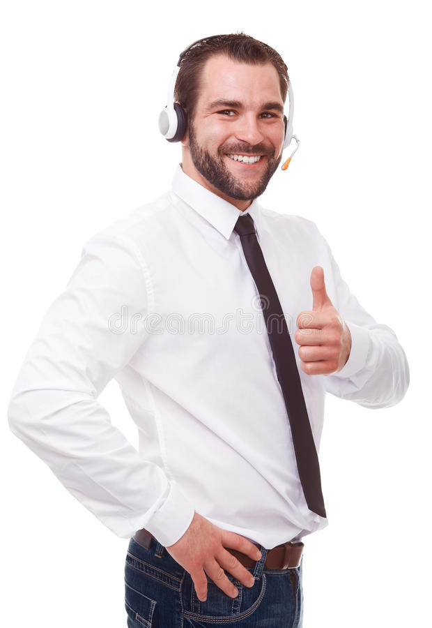 Mannelijke exploitant met hoofdtelefoon stock fotografie