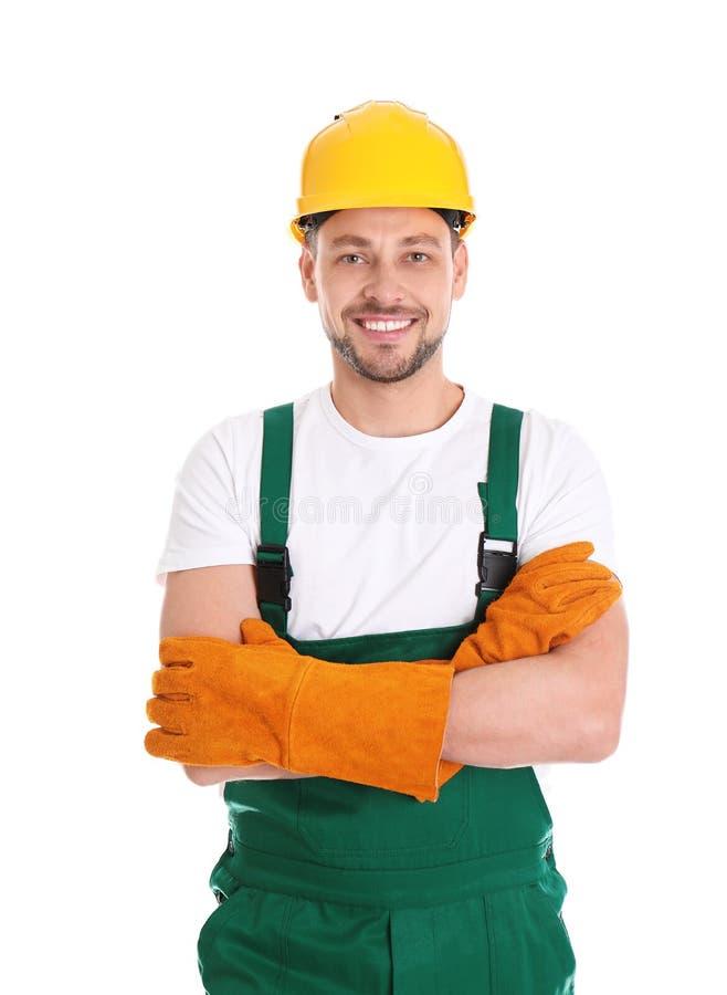 Mannelijke fabrieksarbeider in eenvormig op wit De apparatuur van de veiligheid royalty-vrije stock foto's