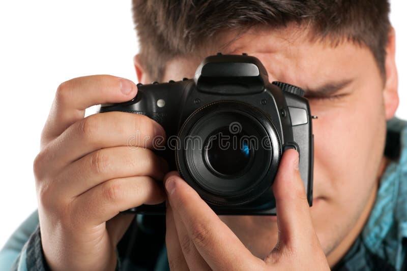 Mannelijke Fotograaf Shooting royalty-vrije stock foto