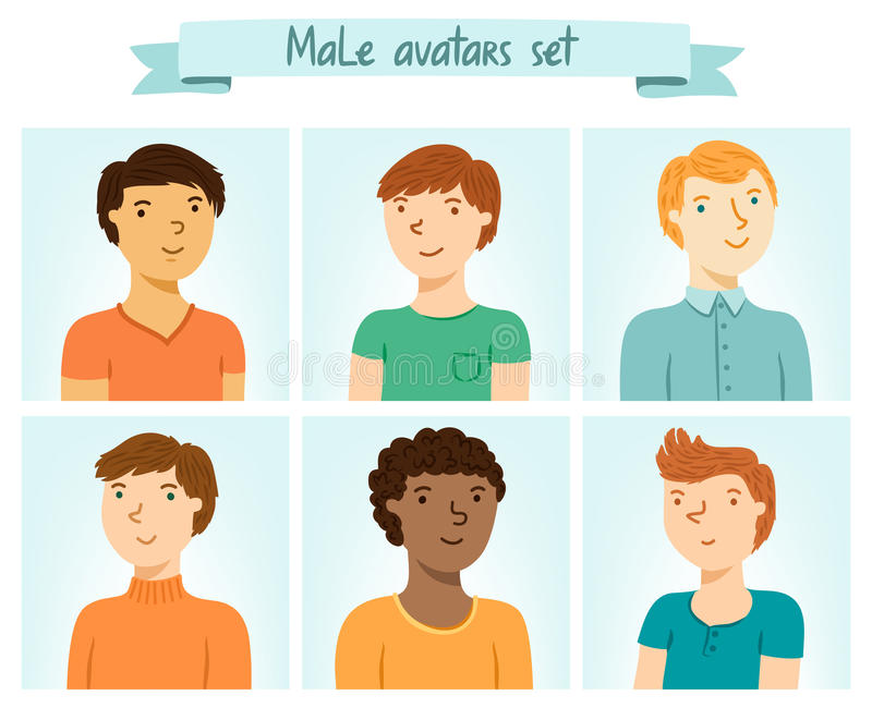 Mannelijke geplaatst avatars stock illustratie