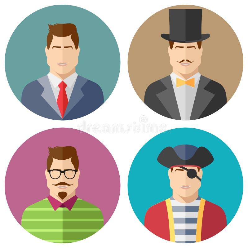 Mannelijke Geplaatste Gezichtenpictogrammen royalty-vrije illustratie