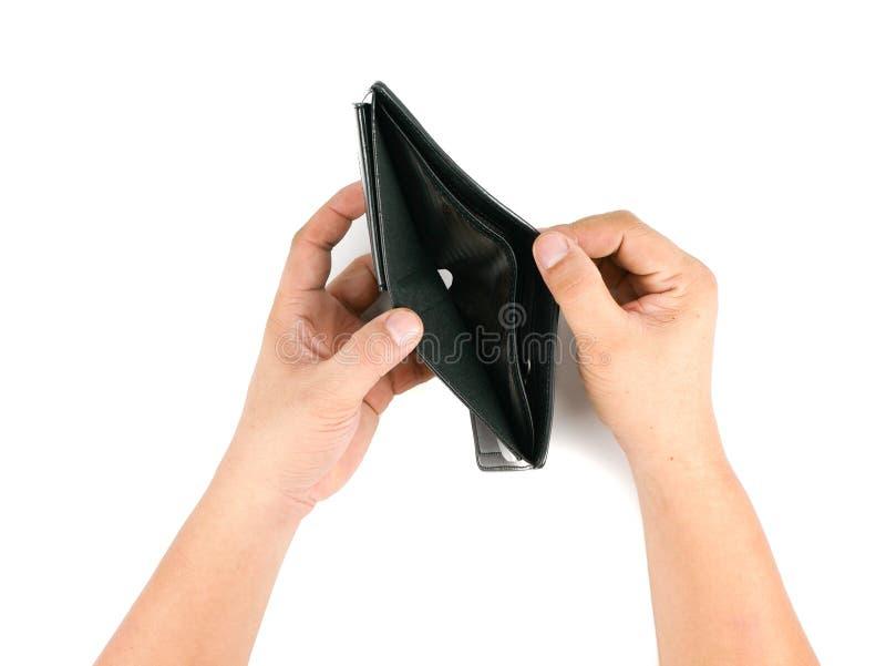 Mannelijke hand Aziatische open lege portefeuille stock foto's