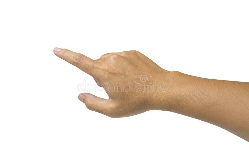 Mannelijke hand die of aan geïsoleerd iets - op wit betrekking hebben richten stock afbeeldingen